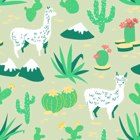 americas: Seamless pattern with alpaca - south americas lama. Background with lama and cactus in cartoon style. Vector floral illustration
