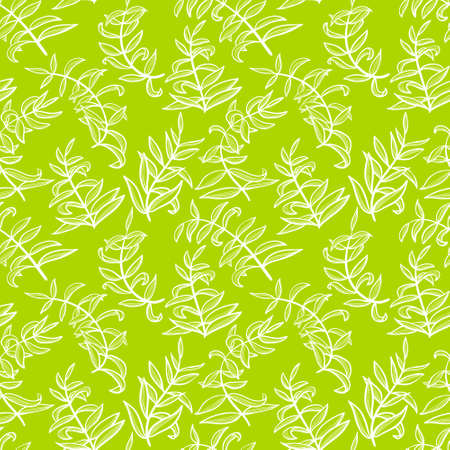 Line art seamless pattern with plants. Doodle simple background with leaves. Vector illustration in green and white colors Illustration
