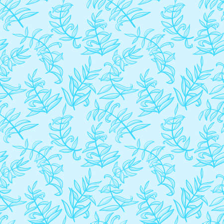 Line art seamless pattern with plants. Doodle simple background with leaves. Vector illustration in blue colors