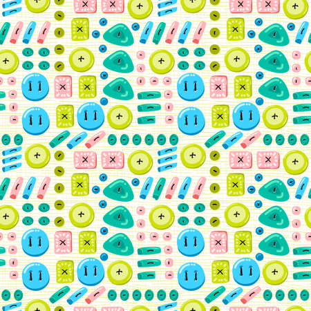 rotund: Buttons seamless pattern. Background with buttons sewn to the fabric. Vector illustration on a theme of sewing and crafts