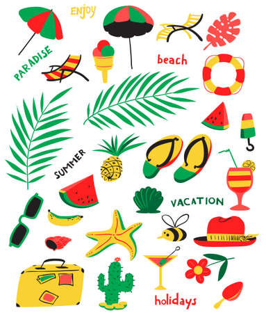 Set with summer beach objects. Vector illustration with umbrella, chair, cocktails, fruits, hat, cactus, watermelon, starfish, ice cream. Illustration