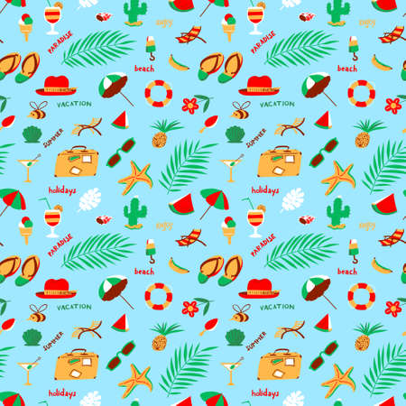 Seamless pattern with summer beach objects. Seasonal background. Vector illustration with umbrella, chair, cocktails, fruits, hat, cactus, watermelon, starfish, ice cream. Illustration