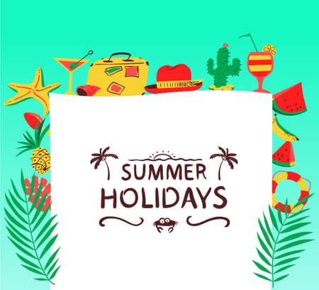 fondo de verano con objetos de playa ilustración vectorial con