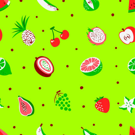 Tropical exotic fruits seamless pattern. Cute fresh organic fruits background. Vector illustration of watermelon, cherry, pineapple, pear, maracuya, starfruit, banana, grape, papaya, line, lemon