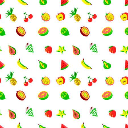 tile background: Tropical exotic fruits seamless pattern. Cute fresh organic fruits background. Vector illustration of watermelon, cherry, pineapple, pear, maracuya, starfruit, banana, grape, papaya, line, lemon