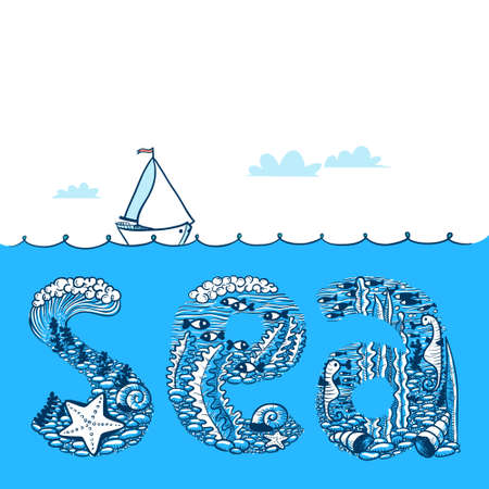 Summer background with waves and yacht. Sea doodle lettering composition with underwater life vector illustration Illustration
