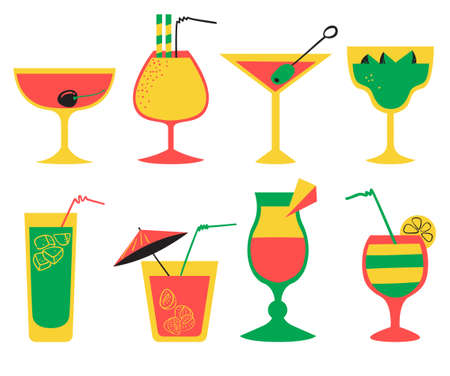 party drinks: Vector set with alcohol cocktails. Flat cartoon style collection with drinks, juice and decorations in glasses with fruits. Vector illustration for beach summer party, cocktail designs
