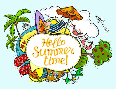 Summer speech bubble with Hello summer time lettering. Background with summer tropical beach and travel objects. Vector illustration with cruise liner, flip flop, island, bikini, beach chair, umbrella, sun, summer landscape