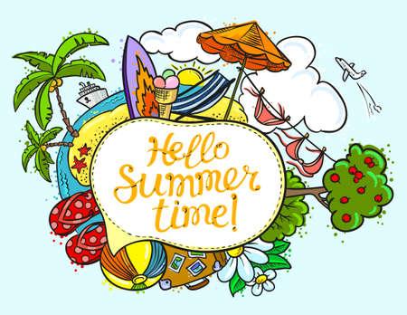 Zomer tekstballon met Hallo zomertijd belettering. Achtergrond met zomer tropisch strand en reizen objecten. Vector illustratie met cruiseschip, flip flop, eiland, bikini, strandstoel, paraplu, zon, zomer landschap