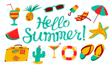 Hello summer lettering. Beach banner with summer objects - umbrella, chair, party cocktails, pineapple, life buoy, flip flops, sunglasses, cactus, ice cream, watermelon. Seasonal tropic background in cartoon style. Vector illustration for cards, posters