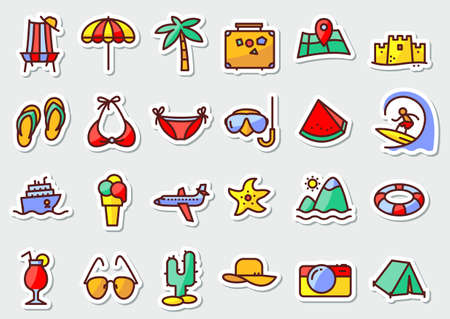 palm fruits: Summer beach icons stickers in line thin and simply style. Pictogram with recreation, travel and vacation objects. Vector illustrations collection with airplane, ship, fruits, camping tent, laggage, palm, idyllic landscape, ice cream, cocktails