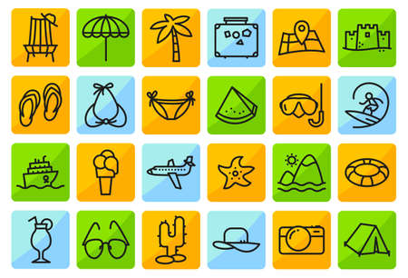 palm fruits: Summer beach icons set in line thin and simply style. Pictogram with recreation, travel and vacation objects. Vector illustrations collection with airplane, ship, fruits, camping tent, laggage, palm, idyllic landscape, ice cream, cocktails