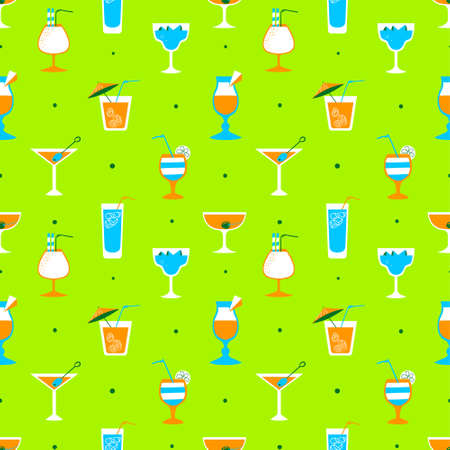 party drinks: Seamless pattern with alcohol cocktails. Flat cartoon style tile background with drinks, juice and decorations in glasses with fruits. Vector illustration for beach summer party, wrapping, posters and backdrops