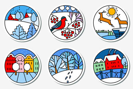 urban street: Winter urban and nature landscapes icons set in thin simply line style. Round pictogram. City street, cute deers, bird on the  rowan branch, facades of buildings in bright colors
