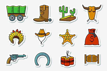 cowboy and western icons set in line art minimalistic thin and simple retro style . Vector collections with Hats Indians and cowboys, cactus, sheriff star, vintage pistol, dynamite, bull, horseshoe and chaise