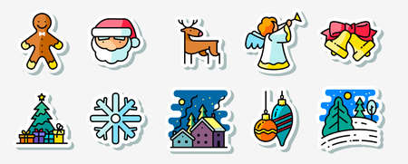 night art: Winter Christmas holidays icons stickers set, colored thin simply line art style pictogram. Pine tree with gifts, winter night snowy landscape, decorations, Santa, angel, deer and Gingerbread characters