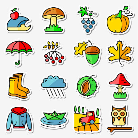 objects paper: Fall season icons stickers set (thin and simply line style). Web pictograms with autumn and crop objects as mushrooms, rainy cloud, paper boat in a pool, field landscape with tractor, leaves, rowan berries, grape, chestnut, acorn, gumboots, owl and hedgeh Illustration