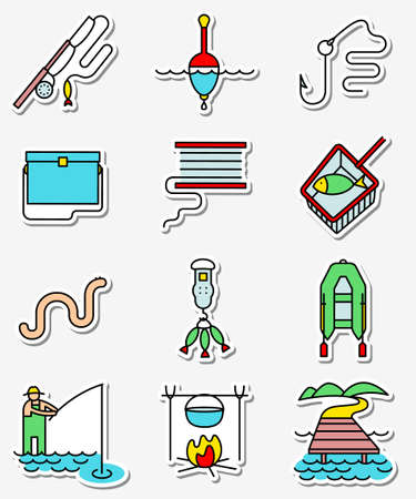 tackle box: Fishing hobby icons set in line art thin and simply colorful style. Illustration