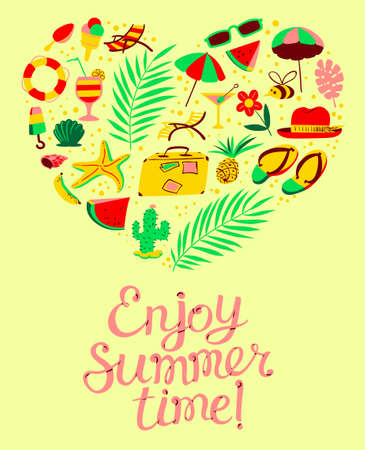 Summer objects set in heart silhouette. Enjoy Summer time lettering composition. Background with beach, holidays, travel, vacation, resort stuff. Vector illustration for  seasonal cards, posters, t-shirts in cartoon style
