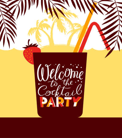 party club: Cocktail party holiday invitation. Background for night club or alcohol bar menu. Cocktail party lettering in cute style. Backdrop with summer sea and palms. Vector illustration with cocktail glasses