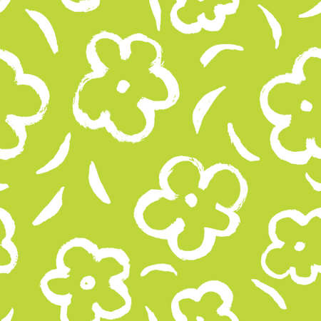 ink sketch: Summer seamless pattern with leaves and flowers in sketchy style.
