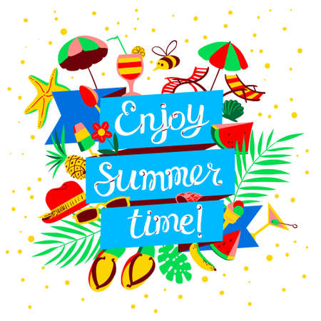 여름 시간 레터링을 즐기십시오. 여름 개체와 해변 휴가 배너.