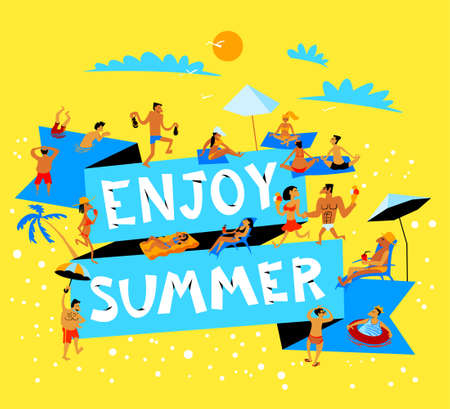 Summer beach  banner with crowd of people. Tropical background with beach activity cute characters in simply doodle style. Çizim