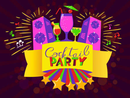 Cocktail party lettering on banner. Disco club poster with loudspeakers and music. Vector illustration for party and nightclub invitation, greeting cards, vacation patterns, cocktail party backdrops