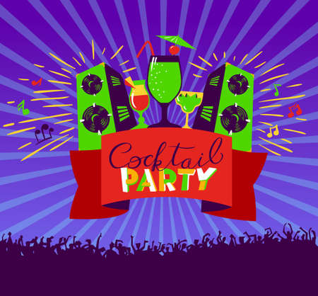party club: Cocktail party lettering on banner. Disco club poster with loudspeakers and music, dancing people crowd.  Vector illustration for party and nightclub invitation, greeting cards, vacation patterns, cocktail party backdrops