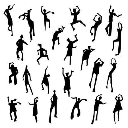 social movement: People figures in motion. Dancing people set. Cute black silhouettes of moving person. Vector illustration in simple incomplete artistic style. Design for nightclub and party invitation Illustration