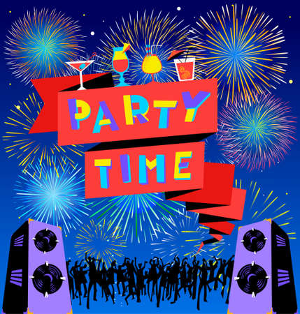 Party time lettering on banner. Disco club poster with loudspeakers and music, dancing people crowd and fireworks.  Vector illustration for party and nightclub invitation, greeting cards, vacation patterns, cocktail party backdrops