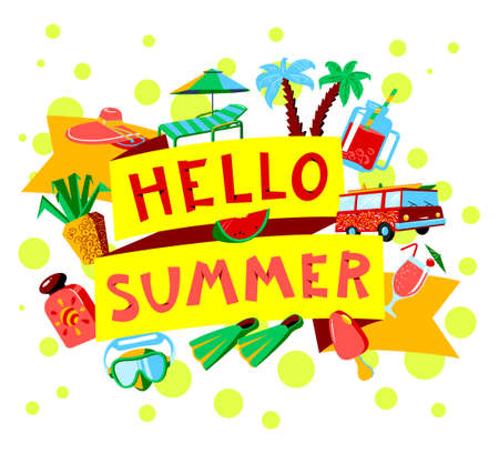 objects equipment: Vector lettering Hello Summer with beach rest objects as cocktails and fruits, sport equipment, sun protection cream and minivan on white background. Summer vacation posters flat style illustration.