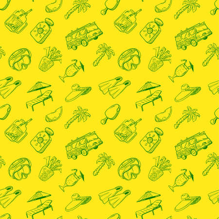 Summer vacations seamless pattern. Beach rest background with cocktails and fruits, sport equipment, sun protection cream and minivan. Food and drinks vector doodle wallpaper.