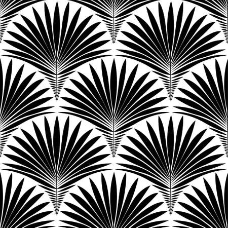 Abstract geometric seamless pattern. Vector background with stylized tropical palm leaves in black and white color