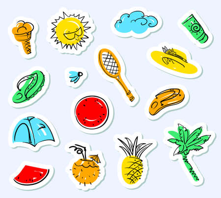 Summer stickers set. Doodle background with beach tags - badminton, palm. flip flops, sun cream, ice cream, watermelon, cocktails. Vector illustration