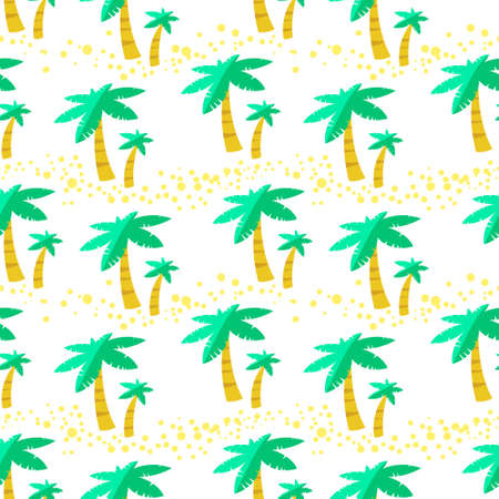 Summer seamless pattern with palms. Background with tropical plants. Vector cartoon illustration