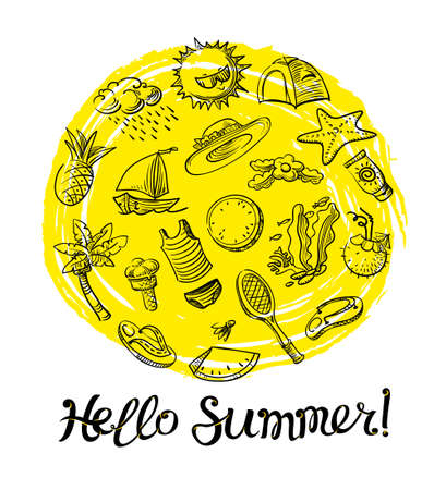 Hello Summer Lettering. Doodle Objects Badminton, Palm Tree, Flip Flops,  Sun Cream