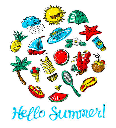 Hello summer lettering. Doodle objects badminton, palm tree, flip flops, sun cream, ice cream, watermelon, cocktails on background like a piece of notebook. Beach vacation vector illustration. Illustration