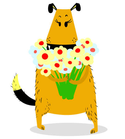 Dog with a bouquet of flowers. Grateful mood. Cute standing pet with large eyelashes. Vector illustration with cartoon dog
