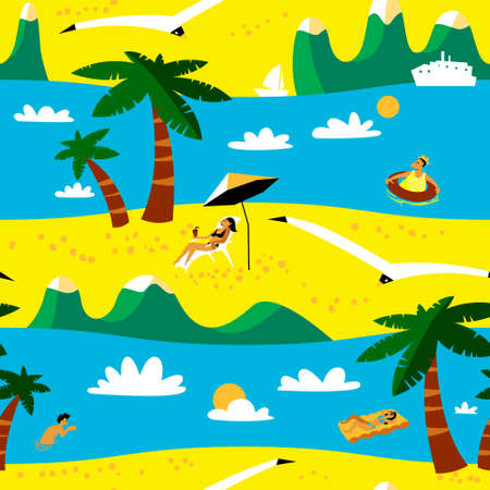 cartoon umbrella: Summer beach seamless pattern. Tropical background with beach activity cute people in cartoon style. Idyllic sea landscape with mountains and palms. Vector illustration with seagulls