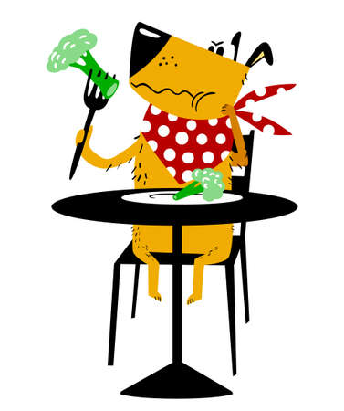 The dog on a diet. A sad dog sits at a table and eats a broccoli cabbage with fork. Cartoon vector illustration with cute pet.