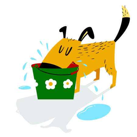 Dog drinks. A sloppy dog drinks water from a bucket and leaves puddles around. Cartoon vector illustration with domestic pet Çizim