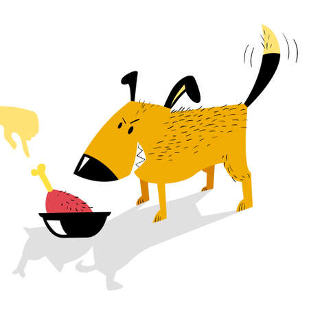 Angry dog guards a bowl of food from a human hand. Food agression. Cute cartoon vector illustration with domestic pet