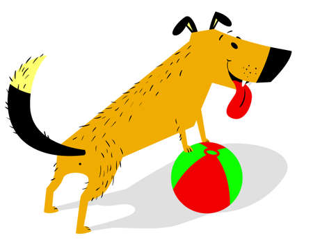 Playful cartoon dog with ball. Cheerful pet invites to play toy. Vector isolated illustration