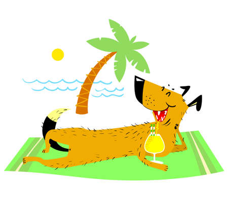 Dog resting on the beach with a glass of cocktail. Summer pet with water waves and palm and sun. Vector illustration on vacation theme