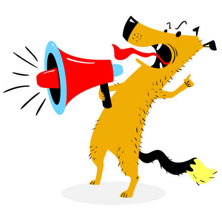 Screaming dog. The dog barks into the loudspeaker. Angry pet with megaphone. Vector illustration with cartoon character