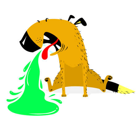 ice: Vomiting dog.Sick dog.  Pet pukes with green vomit. Vector illustration with cartoon animal in desease.
