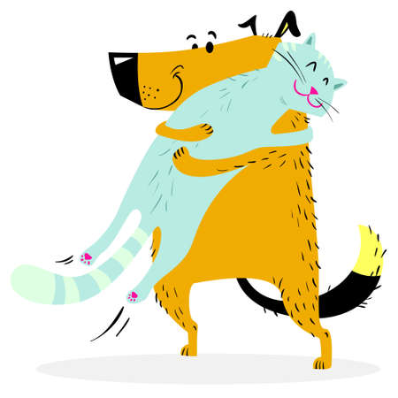 Cat and dog are hugging. Friendly pets. Vector illustration with couple of cute animals Ilustracja