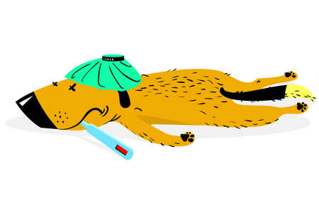 hot dog: Sick dog. The aching sad dog lies with the thermometer. Vector illustration with cute animal character in disease Illustration