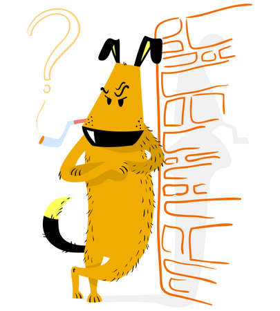 Angry dog. Thinking funny dog standing and asking a question. Crossed arms and leans against the wall. Vector illustration with smoking animal